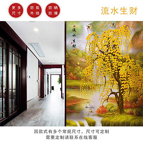 TFOOD raamfolie, raamfolieasthetische gouden boom herfst een stukstatisch matje opak glasdecoratie, zelfklevende uv-bescherming voor keuken badkamer woonkamer