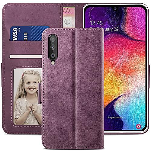 YATWIN Handyhülle Samsung Galaxy A50 Hülle, Klapphülle Samsung Galaxy A50 Premium Leder Brieftasche Schutzhülle [Kartenfach][Magnet][Stand] Handytasche für Samsung Galaxy A50 Hülle, Weinrot