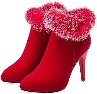 🍁 HebeTop 🍁 Women's Winter Suede Shoes Faux Fur Warm High Heel Boots