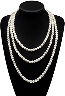 Long Pearl Necklaces for Women Cream White Faux Pearl Strand Layered Necklace Costume Jewelry,69
