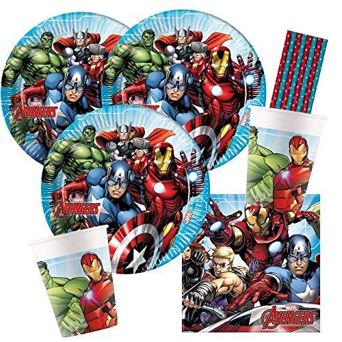 spielum Juego de fiesta de 44 piezas de Marvel Mighty Los Vengadores – Platos, vasos de cartón, servilletas y pajitas para 8 niños