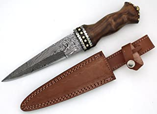 Wild Turkey Handmade Damascus Collection Dirk Sgian Dubh Knife w/Leather Sheath