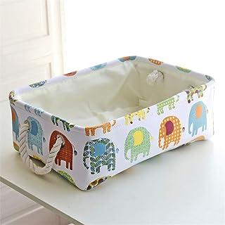 TYJKL Panier de Stockage Poignées for Tablette de Bureau modèle coloré Pliable en Tissu Boîte de Rangement en Toile Panier...