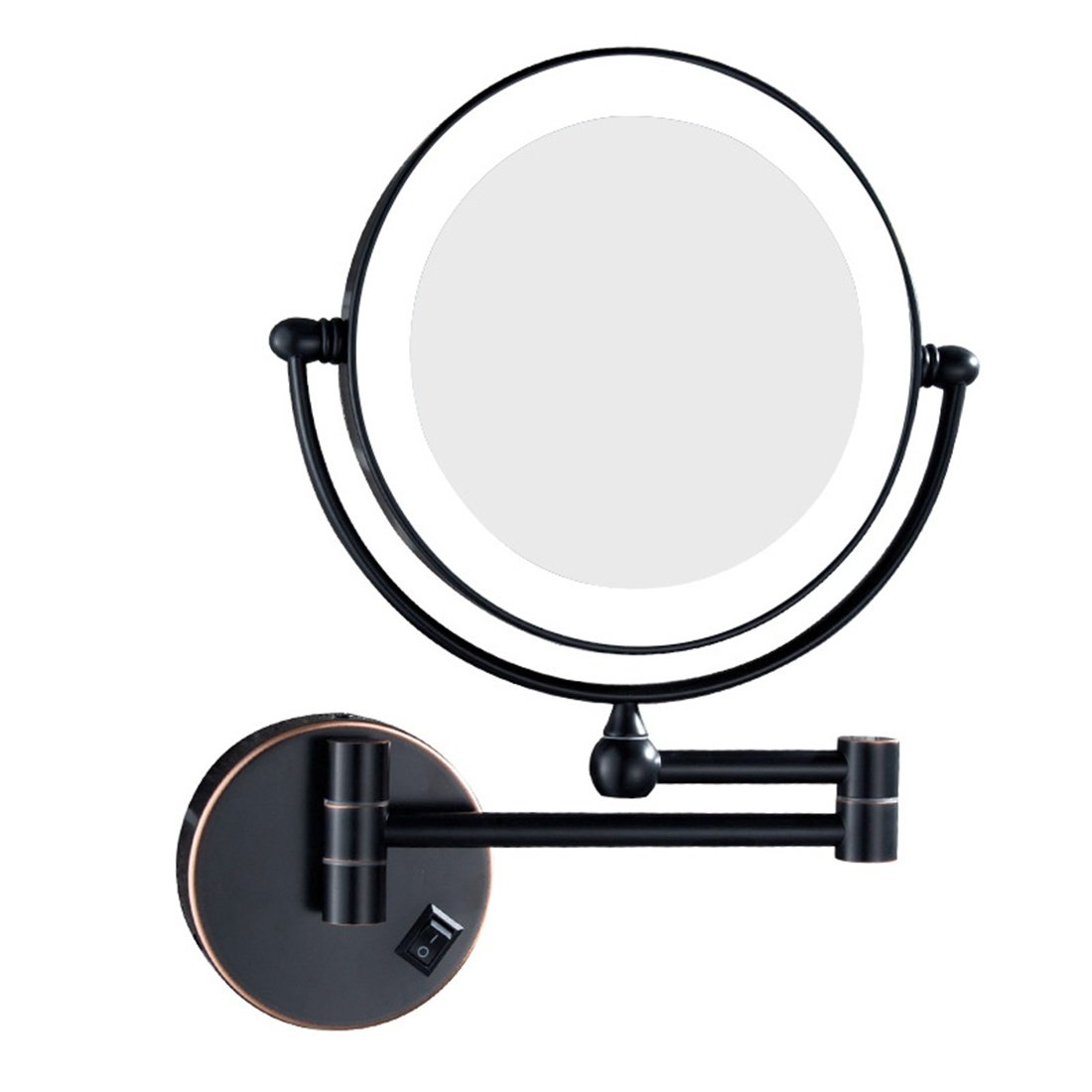Metcandy Plug In Operated Led Lighted Makeup Mirror Wall Mounted Double Sided Illuminated Magnifying Beauty 360 Free Rotating Vanity Mirror Black 3x Buy Online In India At Desertcart In Productid 105500022