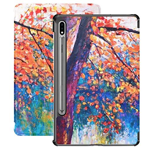 Funda Galaxy Tablet S7 Plus de 12,4 Pulgadas 2020 con Soporte para bolígrafo S, Pintura al óleo Original Paisaje otoñal Funda Protectora Moderna con Soporte Delgado para Samsung