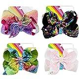 4 Stück 8 Zoll Kinder Haarschleifen Große Haarbögen Clips mit Pailletten, Siwa Schleifen Haarspangen Regenbogen Haarschmuck Set für Baby Mädchen, 4 Farbe