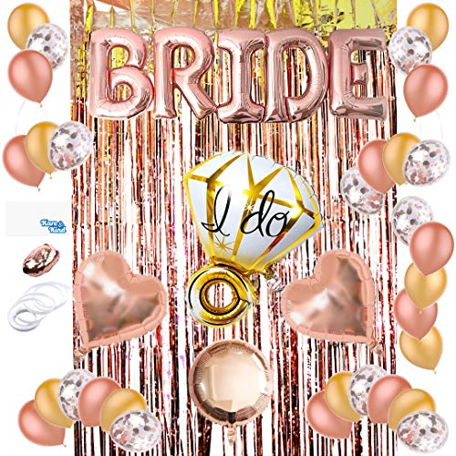 Kare & Kind Bruids Douche Decoratie Kit - Ballonnen (20x Latex, 10x Confetti, 2x Hartvormig en 1x Ronde Mylar, BRIDE Letters, 1x I DO Ring) - 1x Foil Fringe Gordijn - Voor Bachelorette Party