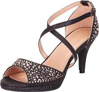 Cambridge Select Women's Open Toe Strappy Crisscross Crystal Rhinestone Mid Heel Sandal