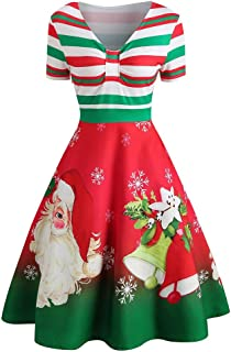 TOTOD Christmas Dress,Women Vintage Print Plus Size Evening Xmas Costume Retro Party Swing Criss Cross Dresses