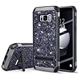 UARMOR Case for Samsung Galaxy S8, Luxury Glitter Bling Rugged Shockproof Dirtproof Stand Hybrid Slim Sparkly Shiny Faux Leather Chrome Hard Case Cover, Black