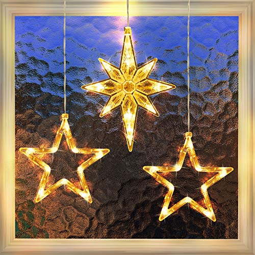 3 Pack Christmas Indoor Window Light Decoration, Backdrop String Lights for Outdoor Indoor Home Bedroom Wedding Party Holiday Wall,1 Polaris, 2 Stars, Warm White