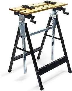 Banco de trabajo plegable 62,5x60,5x(84,5-115,5) cm con estante para herramientas ideal para talleres