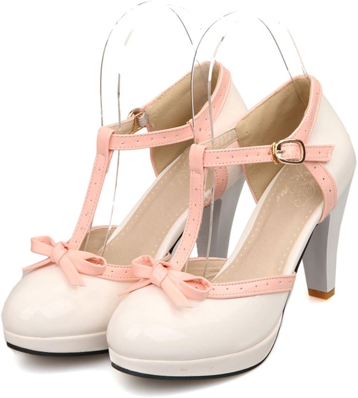 DoraTasia Little Bow-Knot Mary Jane Ankle Buckle T-Strap Mixed color Edge Women Pumps shoes