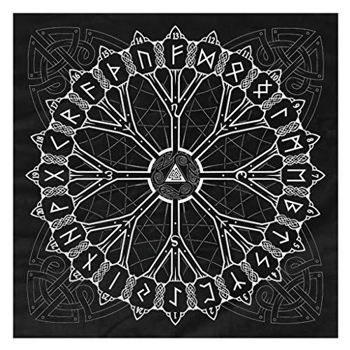 DALIN Flanell-Tischdecke, Motiv: nordische Wikinger, Herkunftsbaum, Rune, Wahrsagung, Karte