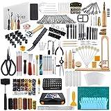 Caydo Juego de herramientas de trabajo de cuero de 509 piezas con instrucciones, herramientas de perforación, juego de sellos de letras y números, juego de estampación, cuero curtido para principiantes y profesionales