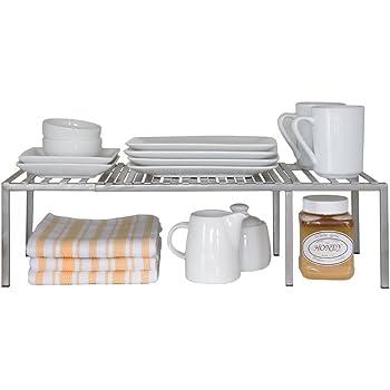 Seville Classics Iron Slat Expandable Kitchen Counter and Cabinet Shelf, Platinum