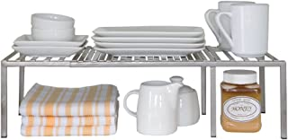Seville Classics Iron Slat Expandable Kitchen Counter and Cabinet Shelf, Platinum