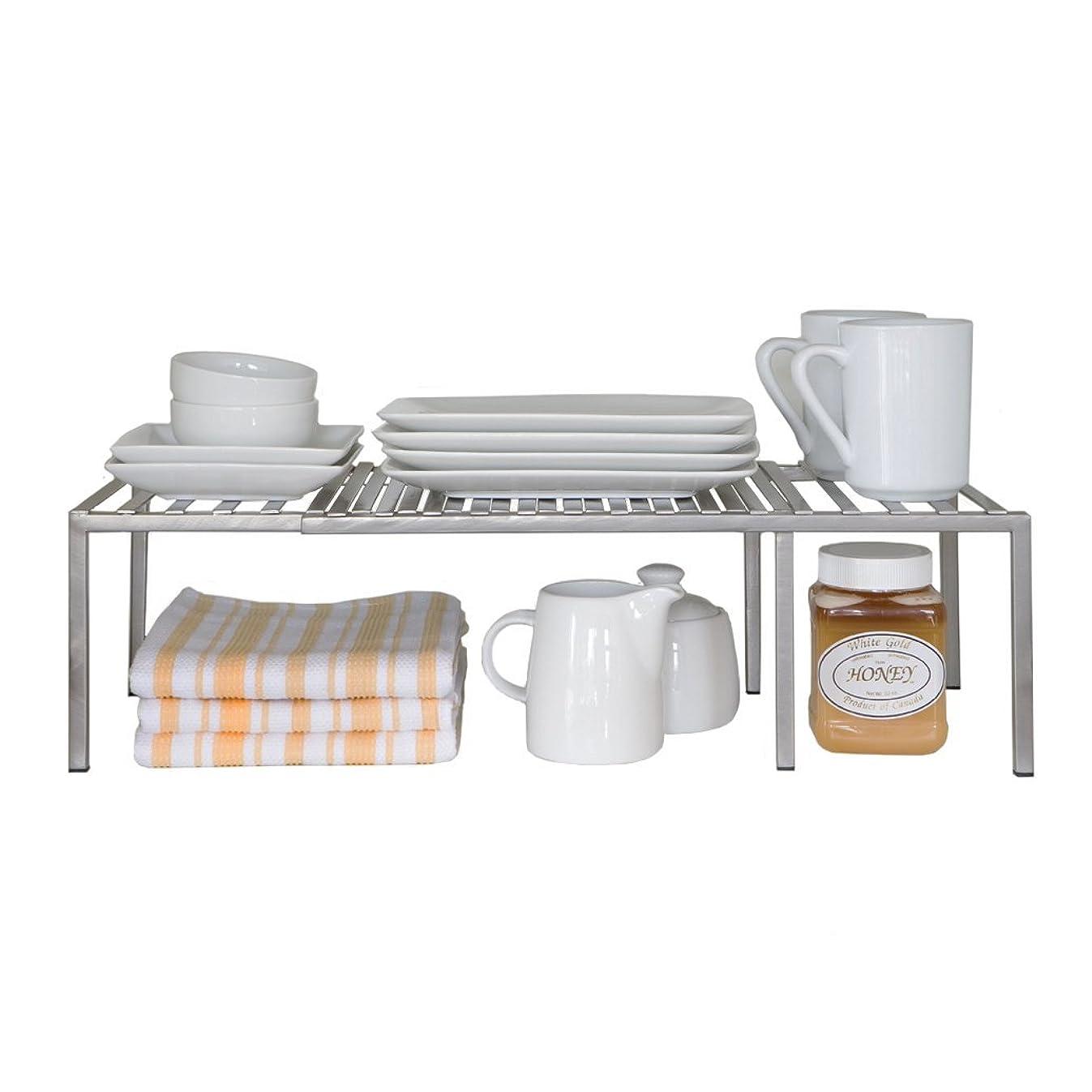 Seville Classics Iron Slat Expandable Kitchen Counter and Cabinet Shelf, Satin Pewter