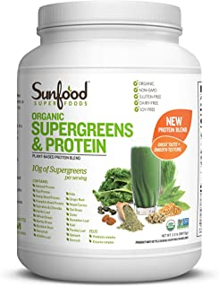 Sunfood Superfoods Supergreens & Protein Organic Powder- Large Bulk Value. 100% Natural Blend: Vanilla Rice Protein, 19 Gr...