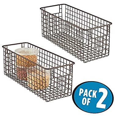 mDesign Household Wire Storage Organizer Bin Basket with Built-In Handles for Kitchen Cabinets, Pantry, Closets, Bedrooms, Bathrooms - 16  x 6  x 6 , Pack of 2, Bronze