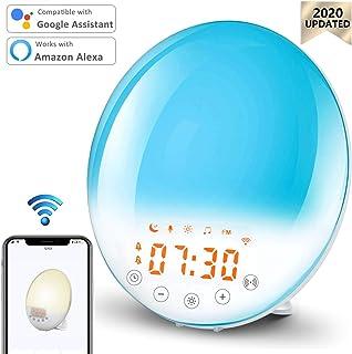 Wake Up Light Sunrise Alarm Clock Smart WiFi Sunset Simulation Digital LED Clock APP Control with FM Radio/Dual Alarms/8 Natural Sounds/recording/Snooze/30 Brightness/7 Colors Dim Bedside Night Light