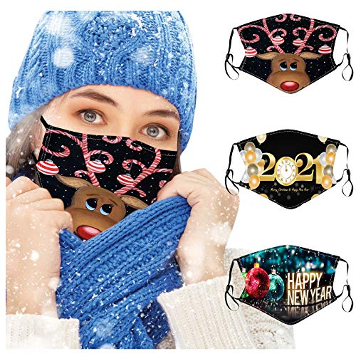 LWWOG Adult Christmas New Year's Day Printed Dust-proof Washable Cotton facecovering