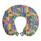 ABAKUHAUS Casinò Cuscino da Viaggio, Casino Chips Luck, Accessorio in Schiuma di Memoria per Viaggio, 30 cm x 30 cm, Multicolore