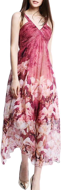 CDCLOTH Women's Summer Sling Silk Dress Backless Mulberry Silk Beach Maxi Dress