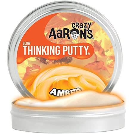 【 蓄光タイプ シリコン製パティ 】 Crazy Aaron's Putty World シンキングパティ グローインザダーク シリーズ EU安全規格適合 内容量90g レギュラーサイズ Made in USA 日本正規代理店品 【 アンバー 】 AM020