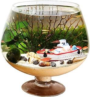 JHNLH Glass Aquarium Clear Transparent Goblet Fish Tank Multi-Functional Beautiful for Vase Flower Plant Pot