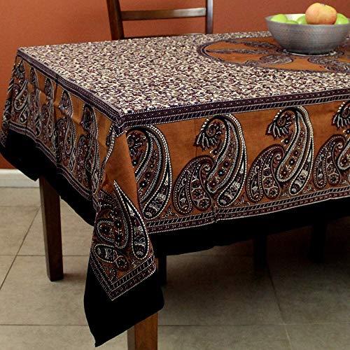 India Arts Cotton Paisley Print Floral Tablecloth Rectangular Table Linen Beach Sheet Beach Throw Thin Bedsheet Bedspread (Brown, 60 x 90 inches)