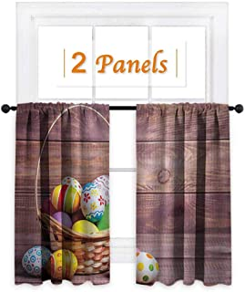 shenglv Easter Customized Curtains Colorful Eggs with Flowers and Polka Dots in a Weave Basket on Wooden Rustic Pattern Window Curtain Drape W72 x L63 Multicolor