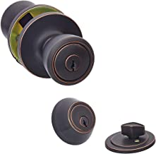 AmazonBasics Entry Door Knob With Lock and Deadbolt, Bell, Oil Rubbed Bronze