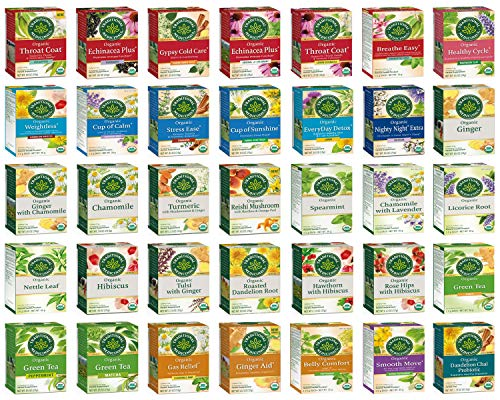 Traditional Medicinals Tea Bag Sampler - Unique Tea Sampler with a Variety of 35 Organic Herbal Teas - An Excellent Care Package or Gift Set - 35 Varieties - 70 Tea Bags Packaged in a Custom Gift Box