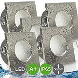 AQUA BASE IP65 5er Set ultra flach LED 5W = 50W 230V Decken Einbaustrahler eckig Edelstahl Optik...