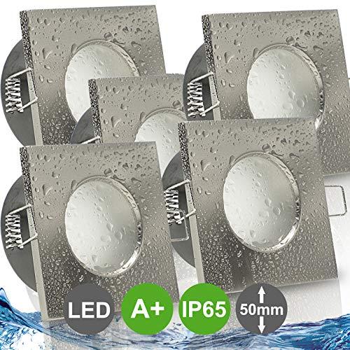 AQUA BASE IP65 5er Set ultra flach LED 5W = 50W 230V Decken Einbaustrahler eckig Edelstahl Optik gebürstet Warmweiss 3000k nur 50 mm Einbautiefe Bad Feuchtraum Einbauleuchte quadratisch
