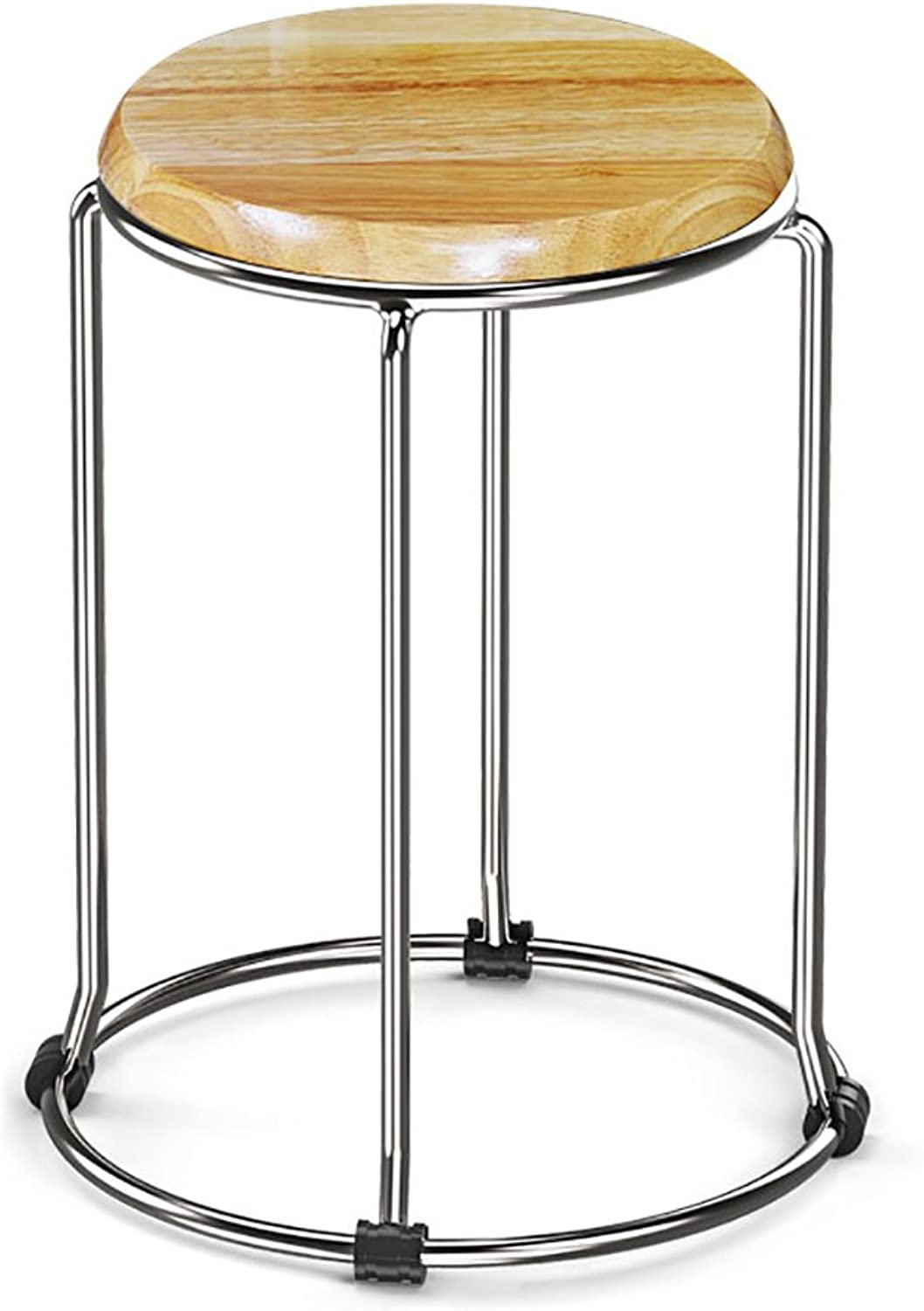 European Chair Fashion Simple Solid Wood Surface Stool Home Metal Table Stool high Stool Wooden Stool Non-Slip