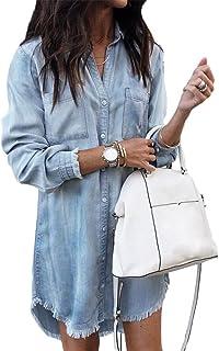 440f023872c766 ShallGood Vestito da Camicia Jeans Maglia Maglietta Bordo Vestito Abito da  Donna Eleganti Estivi Corti Manica