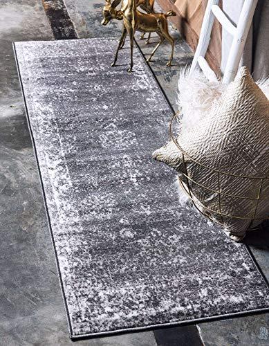 Unique Loom Sofia Traditional Area Rug_SOF001, 3 Feet 3 Inch x 16 Feet 5 Inch, Dark Gray/Ivory