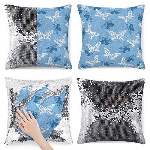 pealrich Fundas de almohada con lentejuelas de 40,6 x 40,6 cm, diseño de mariposas, color azul estrellado