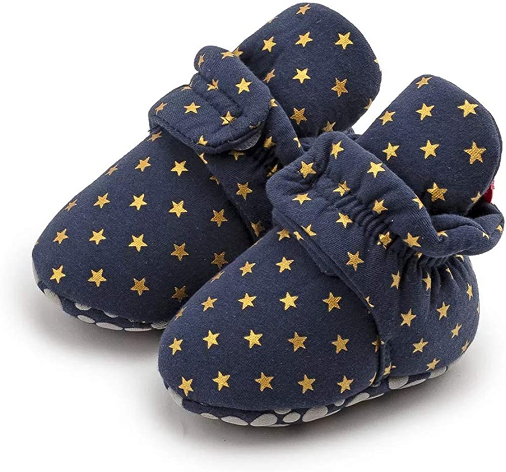 Newborn Baby Boys Girls Cotton Booties Stay On Infant House Slippers Socks Soft Sole Non Skid Gripper Crib Shoes First Walkers Ankle Shoes