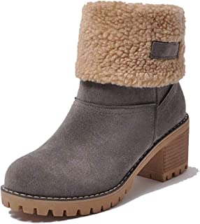 Women's Winter Snow Boots Bowtie Slip on Block Mid Heel Tassel Round Toe Daily Warm Ankle Boots