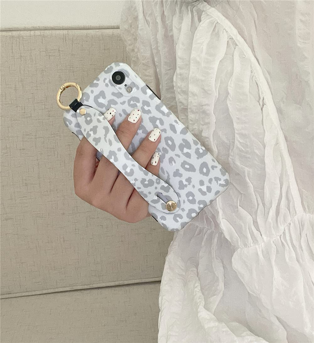 for iPhone X XS Case Fashion Leopard Pattern Hand Wrist Strap Stand Bracelet Phone Case with Camera Protection Cover Shockproof Special Hang Chain for iPhone X & XS Cases