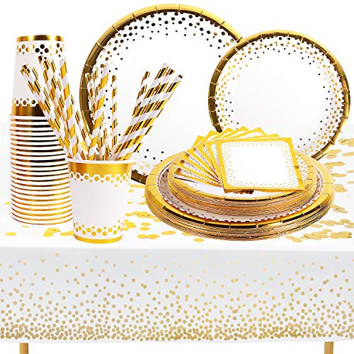 Gold Party Supplies Set - Disposable Paper Dinnerware Set Serves 24 - White and Gold Dinner/Dessert Party Plates, Napkins, Cups, Straws, Gold Tablecloth, Confetti For Wedding Bridal Showers, Brunch Decorations, Birthday Decorations and Baby Showers