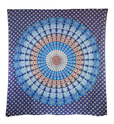 Aga's Own Indische Mandala Tagesdecke, Wandtuch, Tagesdecke Mandala Druck - 100prozent Baumwolle, 210x240 cm, Bettüberwurf, Sofa Überwurf (Muster 05)