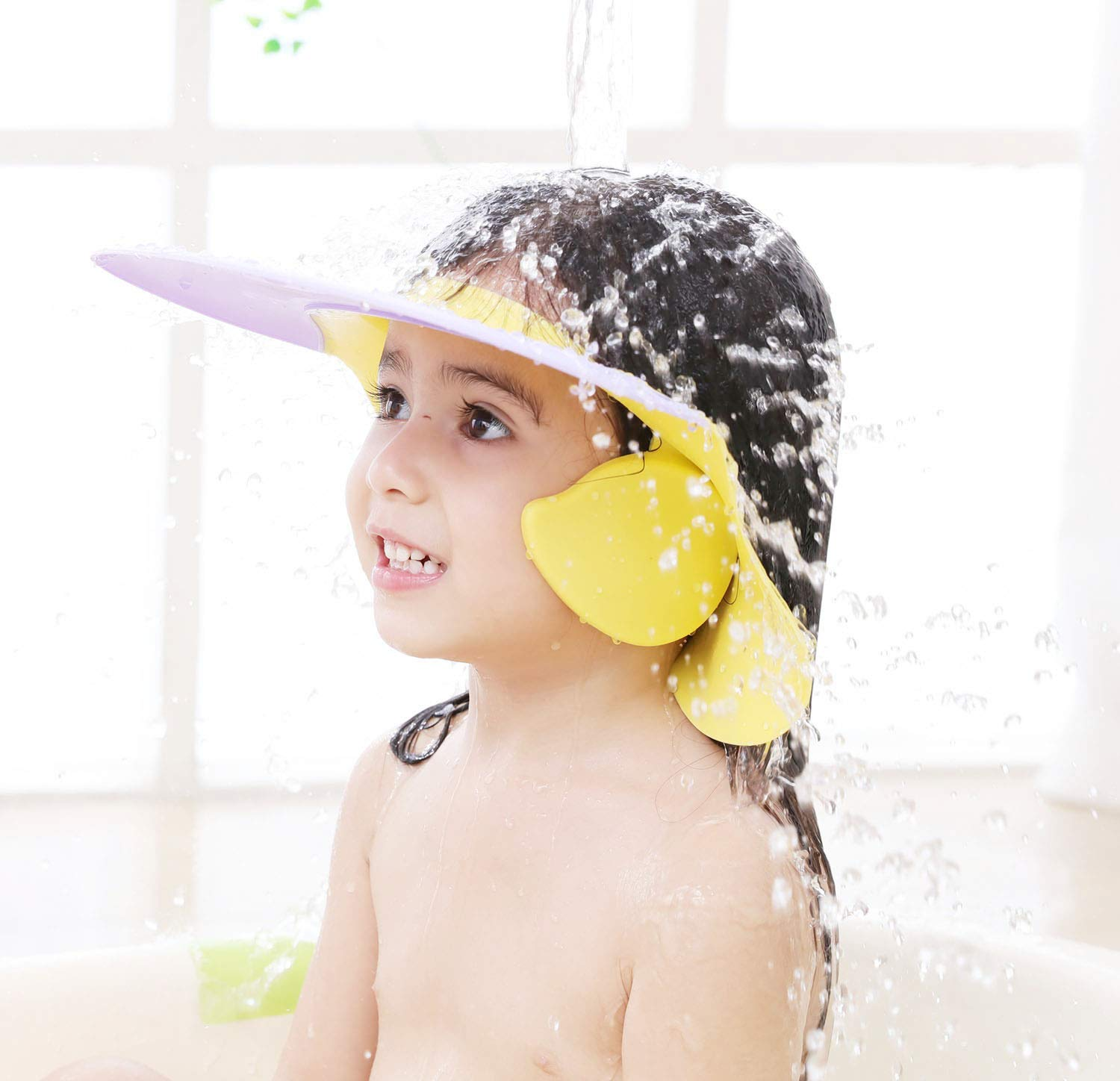 Baby Shower Cap Adjustable Silicone Shower Visor Bathing Hat Shampoo Caps Soft Stretchy Safety Bath Hats Protect Eyes Ears for Kids Toddler Infants Children with Ear Protection (Purple Dolphin)