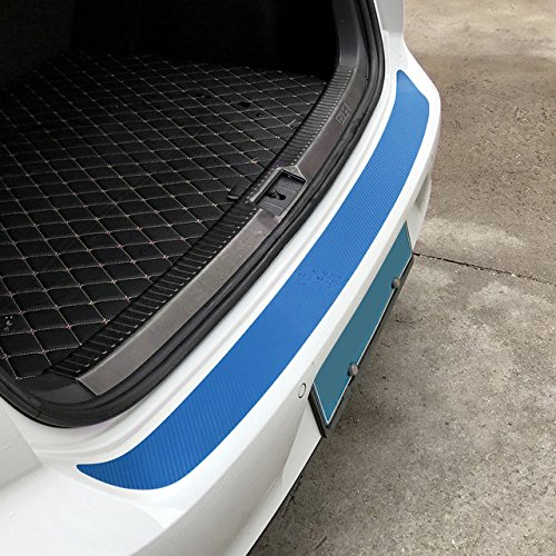 JenNiFer Autocollants De Voiture De Pare-Chocs Arrière en Fibre De Carbone 108X7.2Cm Protecteur Garniture 7 Couleurs pour VW Golf Mk6 GTI R20 - Argent Mat