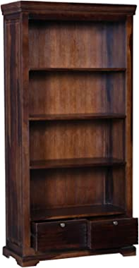 Balaji Wooden Solid Acacia Wood 4 Tier Book Shelf with 2 Drawer Storage for Home Living Room Library Office Furniture Wooden