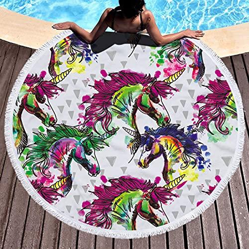 Toalla De Playa Redonda De La Serie Animal De Dibujos Animados, Patrón De Impresión Digital, Toalla De Microfibra, Tapete De Playa A Prueba De Arena De Secado Rápido 150 * 150cm