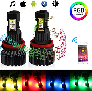 CIIHON H11 H8 H9 RGB LED Fog Light Bulb Multicolor Wireless APP Bluetooth Control 1800 Lumens DRL Fog Driving Lights Bulbs Replacement Pack of 2, 1 Year Warranty